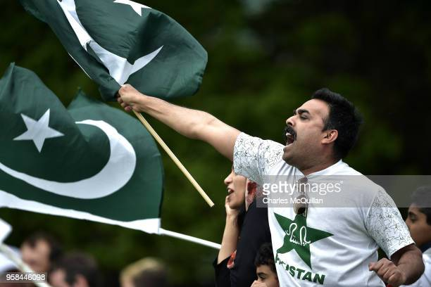 Pakistan cricket fan shouts his support during the fourth day of the international test cricket match between Ireland and Pakistan on May 14 2018 in...