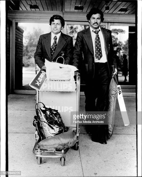 Pakistan Cricket team arrives L to R Ashraf Ali Anwar Khan March 2 1979