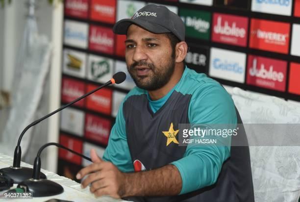Pakistan cricket team captain Sarfraz Ahmed addresses a press briefing at the National Cricket Stadium in Karachi on March 31 2018 Pakistan captain...