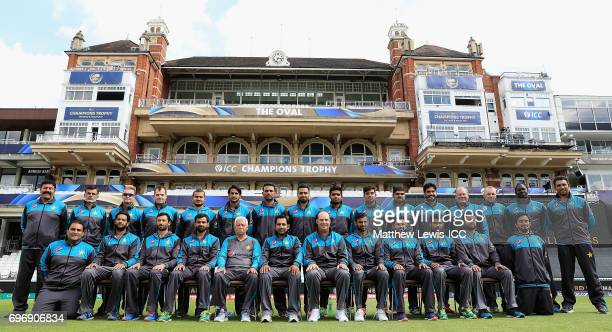 Pakistan Cricket Team pictured ahead of the ICC Champions Trophy Final between Pakistan and India at The Kia Oval on June 17 2017 in London England