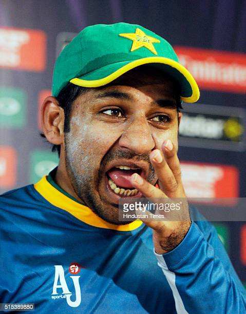 Pakistan Cricket Team player Sarfraz Ahmed during a preevent media conference for T20 World Cup at Eden Gardens on March 13 2016 in Kolkata India...