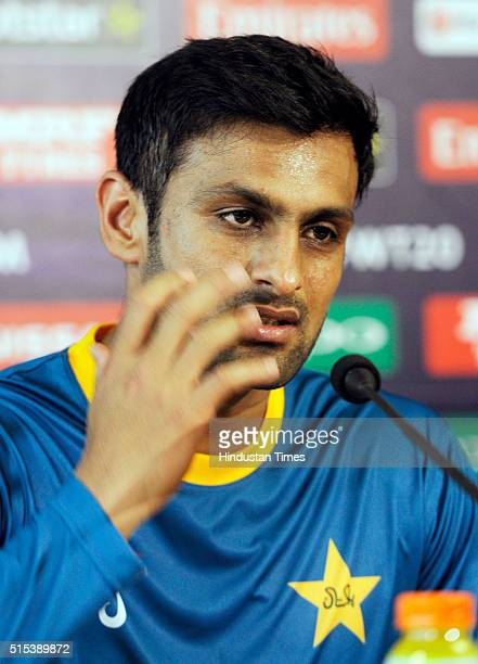 Pakistan Cricket Team player Shoaib Malik during a preevent media conference for T20 World Cup at Eden Gardens on March 13 2016 in Kolkata India...