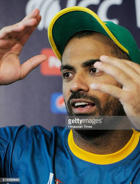 Pakistan Cricket Team player Wahab Riaz during a preevent media conference for T20 World Cup at Eden Gardens on March 13 2016 in Kolkata India...
