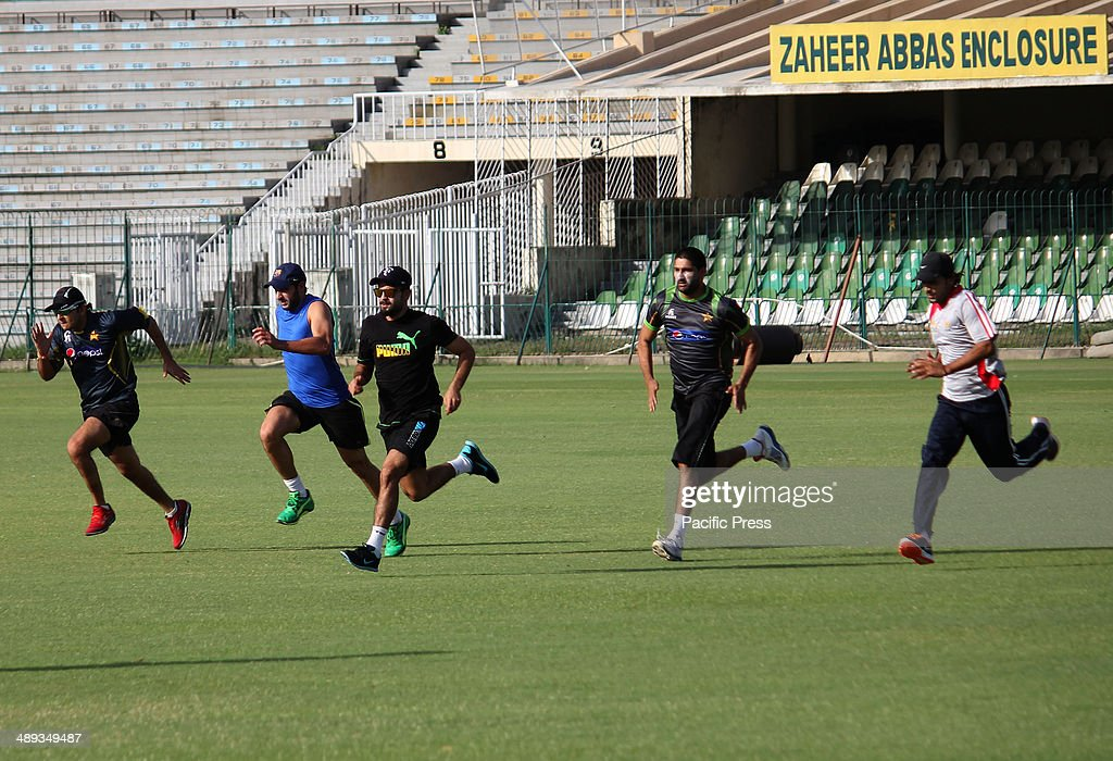 Pakistan cricket team players working hard at physical... : News Photo