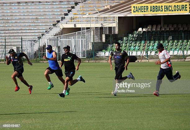 Pakistan cricket team players working hard at physical training prior to the Sri Lanka Cricket series at Qaddafi Stadium