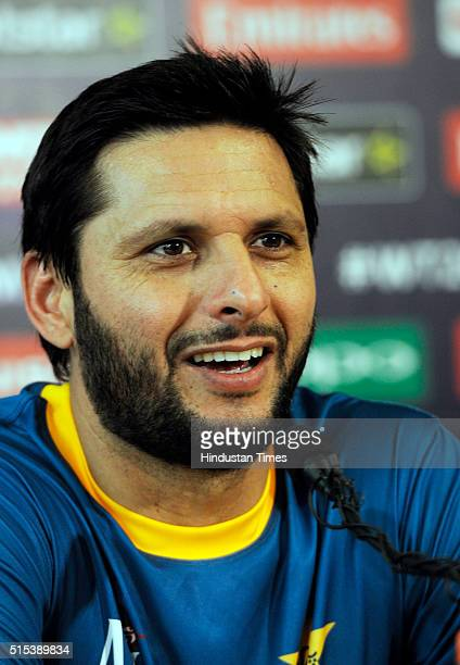 Pakistan Cricket Team skipper Shahid Afridi holds preevent media conference for T20 World Cup at Eden Gardens on March 13 2016 in Kolkata India...