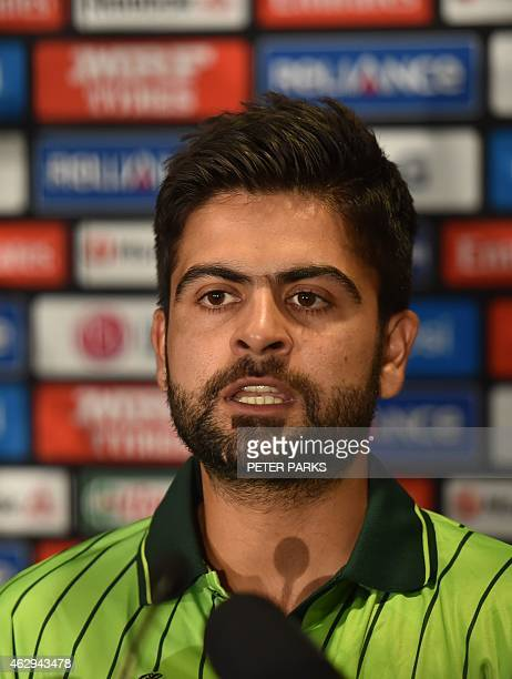 Pakistan cricketer Ahmed Shehzad speaks at a press conference in Sydney on February 8 ahead of the 2015 Cricket World Cup which will be jointly...