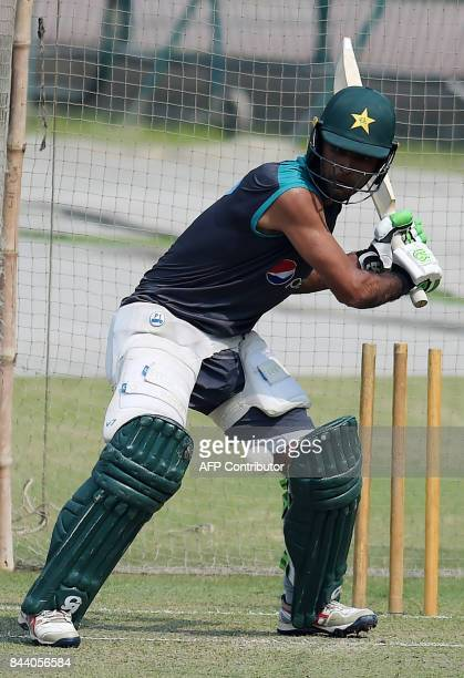 Pakistan cricketer Fakhar Zaman bats during a practice session at the Gaddafi Cricket Stadium in Lahore on September 8 for the forthcoming World XI...
