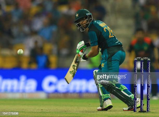 Pakistan cricketer ImamulHaq plays a shot during the Asia Cup 2018 cricket match between Bangladesh and Pakistan at the Sheikh Zayed StadiumAbu Dhabi...