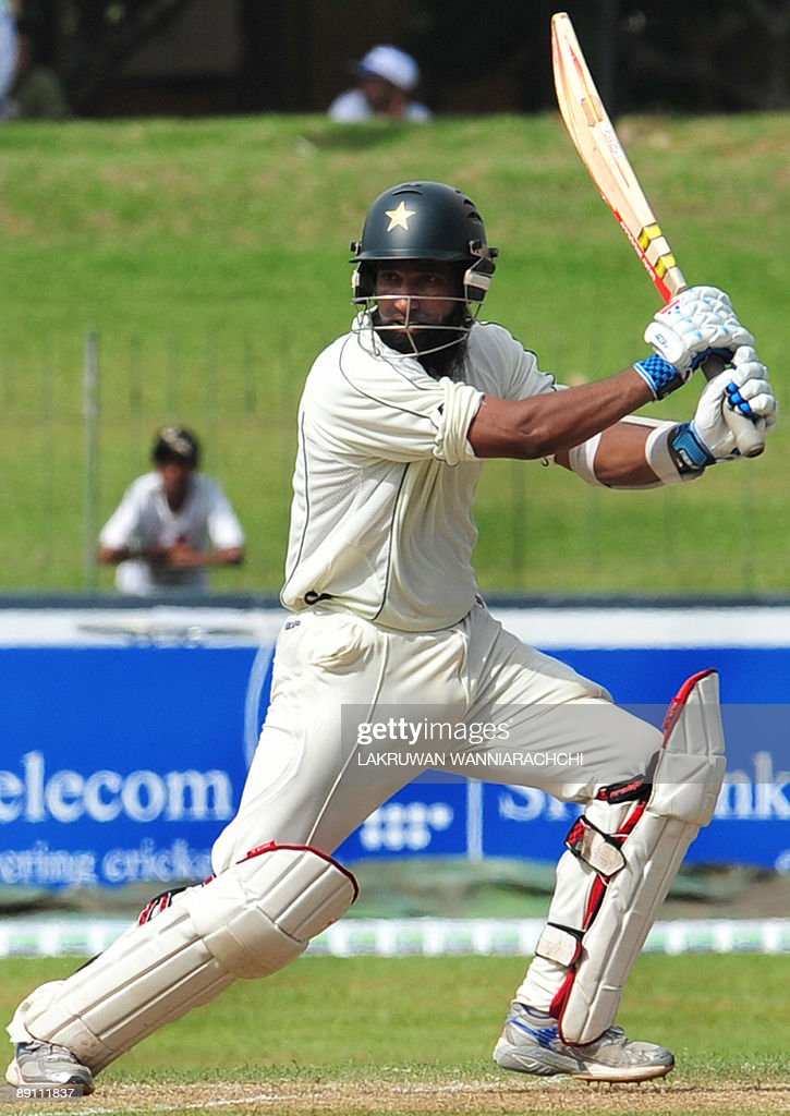 Pakistan cricketer Mohammad Yousuf bats during the first day