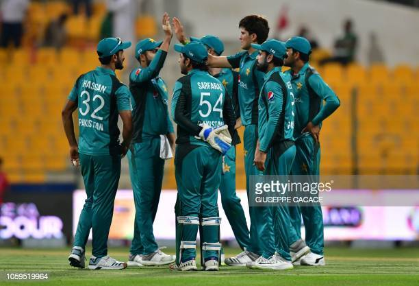 Pakistan cricketer Shaheen Shah Afridi celebrates after he dismissed New Zealand cricketer Ish Sodhi during the second one day international cricket...