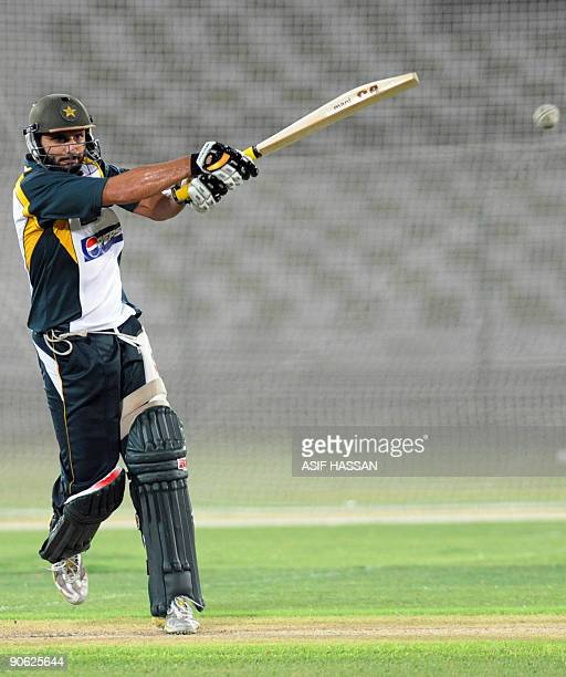 Pakistan cricketer Shahid Afridi plays a shot during a training camp in the National Stadium in Karachi on September 12 2009 Pakistan captain Younus...