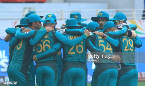 Pakistan cricketers in a discussion during the 2nd cricket match of Asia Cup 2018 between Pakistan and Hong Kong in Dubai United Arab Emirates on...