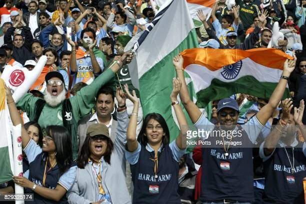 Pakistan fan Cha Cha Cricket celebrates amongst Indian cricket fans during the ICC Champions Trophy match between Pakistan and India at Edgbaston...