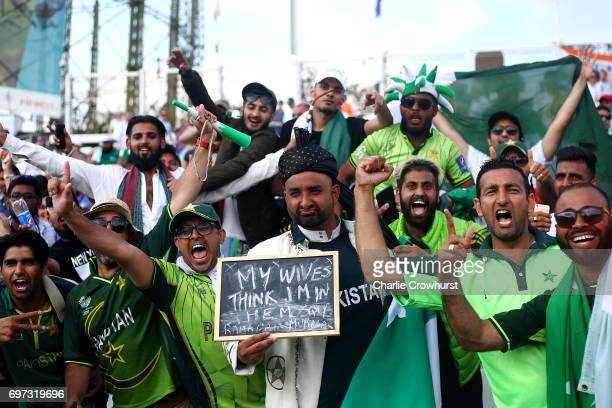 Pakistan fans celebrate during the ICC Champions Trophy Final match between India and Pakistan at The Kia Oval on June 18 2017 in London England