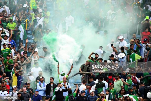 Pakistan fans let off flares after during the Group Stage match of the ICC Cricket World Cup 2019 between Pakistan and Afghanistan at Headingley on...