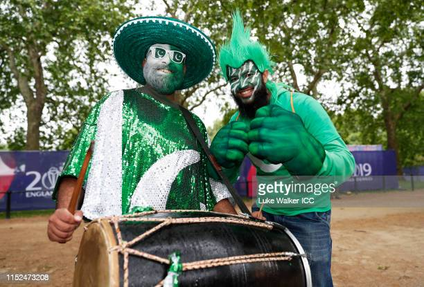 Pakistan fans pose for a photo during the ICC Cricket World Cup 2019 Opening Party at The Mall on May 29 2019 in London England