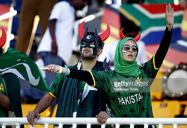 Pakistan fans show their support during the ICC T20 World Cup Super Eight group 2 cricket match between Australia and Pakistan at R Premadasa Stadium...