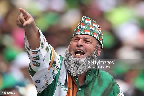 Pakistan fans shows his support during the 2015 ICC Cricket World Cup match between India and Pakistan at Adelaide Oval on February 15 2015 in...