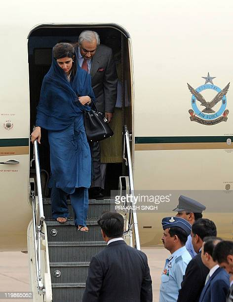 Pakistan Foreign Minister Hina Rabbani Khar arrives at Air Force station in New Delhi on July 26 2011 The foreign ministers of India and Pakistan...