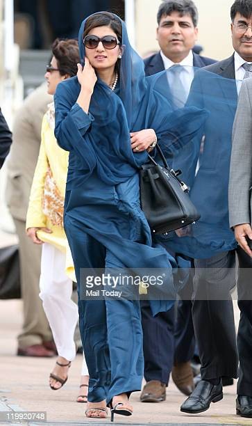 Pakistan Foreign Minister Hina Rabbani Khar arrives at Air Force station in New Delhi on Tuesday