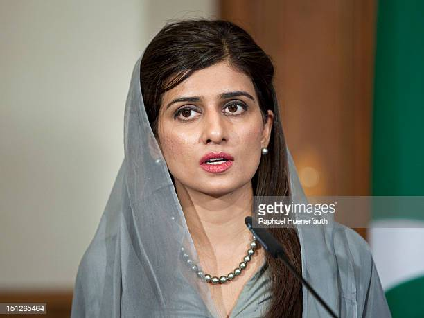 Pakistan Foreign Minister Hina Rabbani Khar speaks at a joint press conference with German Foreign Minister Guido Westerwelle in the Villa Borsig in...