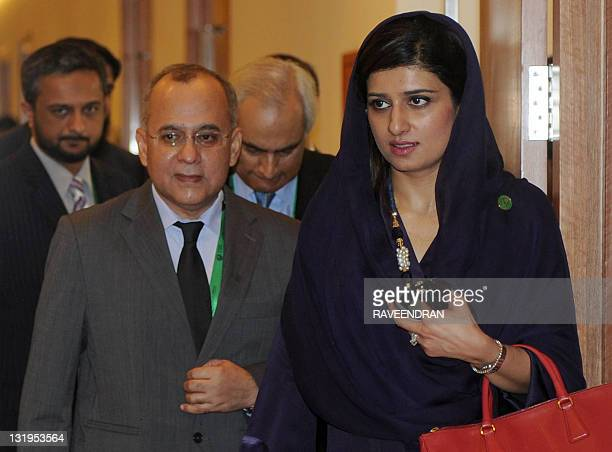 Pakistan Foreign Minister Hina Rabbani Khar with Foreign Secretary Salman Bhashir arrives for a meeting during a lead up to the 17th South Asian...