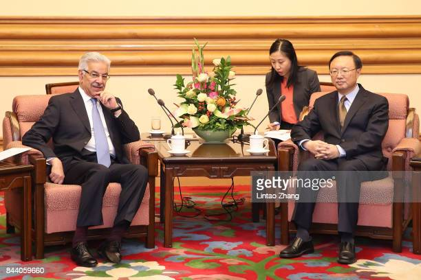 Pakistan Foreign Minister Khawaja Muhammad Asif attends a meeting with Chinese State Councilor Yang Jiechi at Zhongnanhai Leadership Compound on...