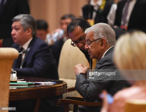 Pakistan Foreign Minister Khawaja Muhammad Asif attends a signing ceremony with foreign ministers and officials of the Shanghai Cooperation...