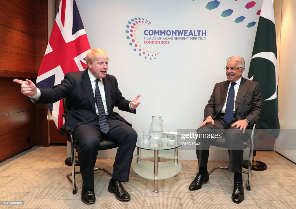 Pakistan Foreign Minister Khawaja Muhammad Asif (R) during bilateral talks with Foreign Secretary Boris Johnson during the Commonwealth Heads of Government Meeting at the Intercontinental on April 17, 2018 in London, England.