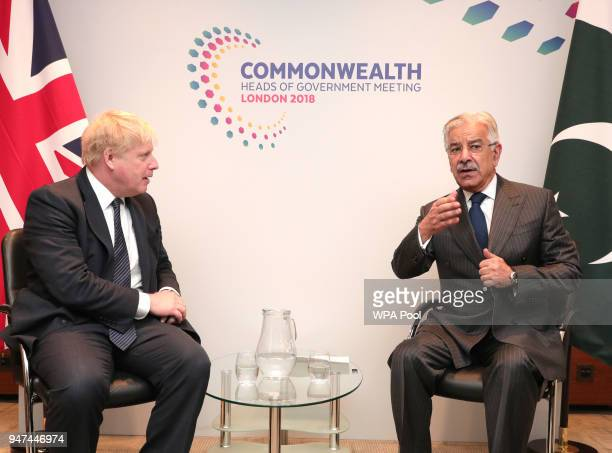 Pakistan Foreign Minister Khawaja Muhammad Asif during bilateral talks with Foreign Secretary Boris Johnson during the Commonwealth Heads of...