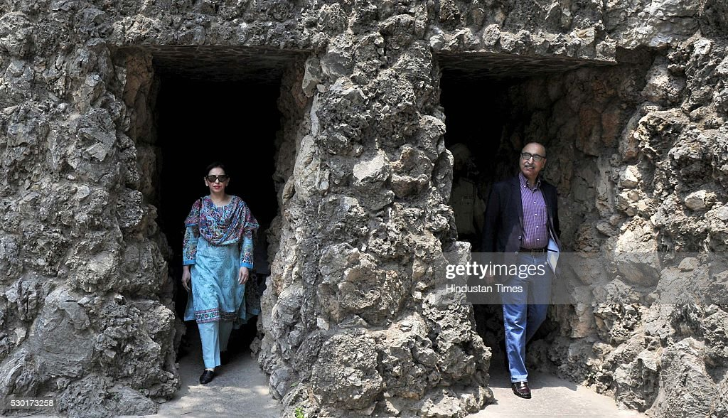 Pakistan High Commissioner Abdul Basit with his wife Summiya Basit visits Rock Garden on May 10 2016 in Chandigarh India On Monday Pakistan high...