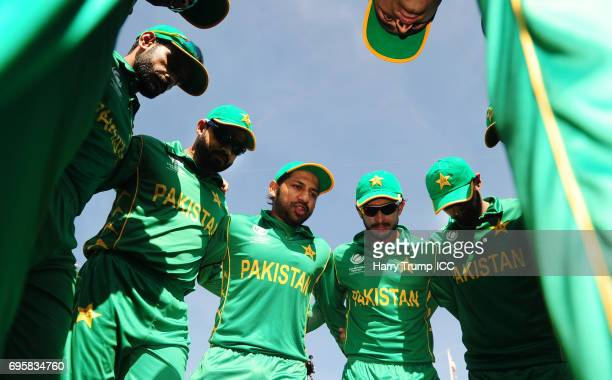 Pakistan hold a pre match huddle during the ICC Champions Trophy Semi Final match between England and Pakistan at the SWALEC Stadium on June 14 2017...