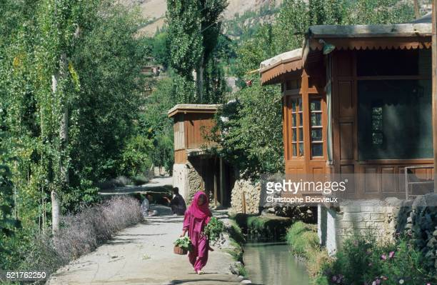 pakistan, hunza valley, karimabad, irrigation canal - hunza valley stock pictures, royalty-free photos & images
