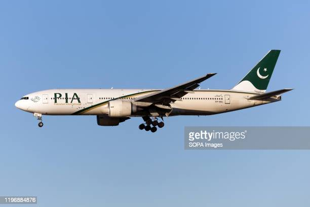 Pakistan International Airlines Boeing 777200ER lands at London Heathrow airport