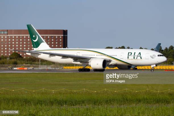 Pakistan International Airlines PIA Boeing 777200ER lining up for takeoff at Narita airport Tokyo