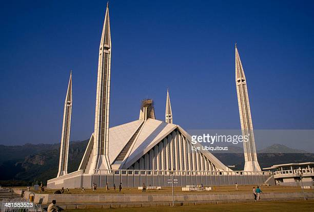 Pakistan Islamabad Faisal Mosque with a minaret at each corner