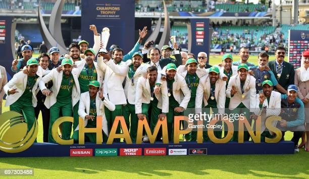 Pakistan lift the ICC Champions Trophy after beating India during ICC Champions Trophy Final between India and Pakistan at The Kia Oval on June 18...