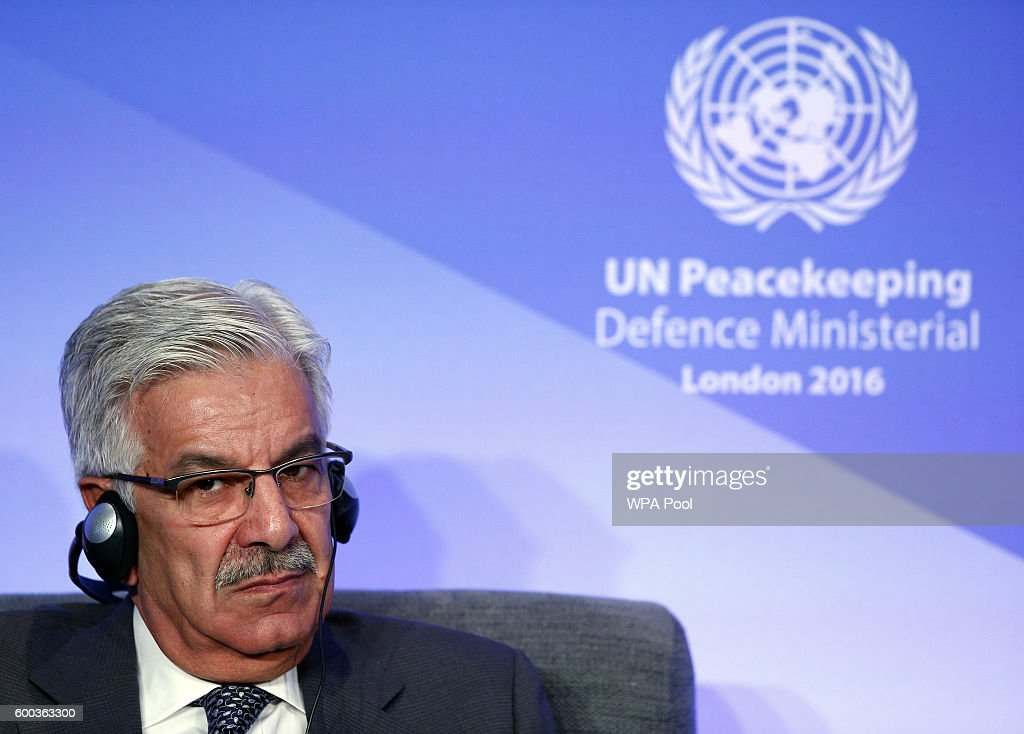 Pakistan Minister of Defence Muhammad Asif Khawaja listens to comments during 'Improving Peacekeeping - Rapid Deployment' during the UN Peacekeeping Defence Ministerial at Lancaster House on September 8, 2016 in London, England.