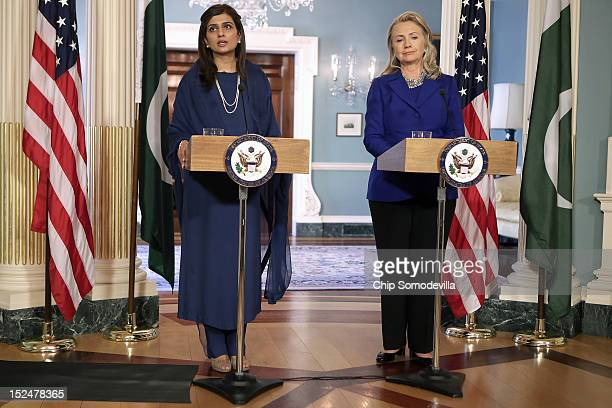 Pakistan Minister of Foreign Affairs Hina Rabbani Khar and US Secretary of State Hillary Clinton hold a joint press availability and make brief...
