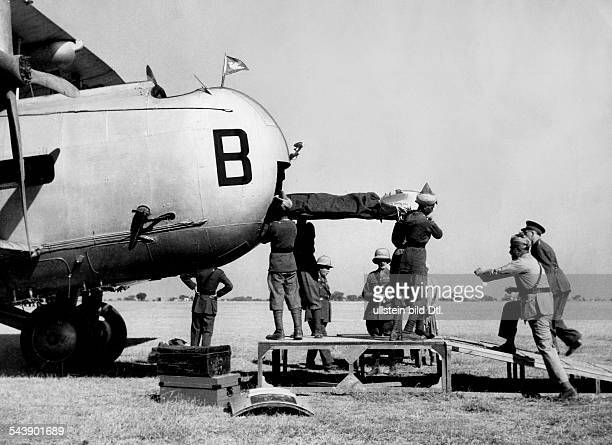 Pakistan NorthWest Frontier Province Revolts in Waziristan wounded soldiers are loaded in a british plane undated Photographer Heinrich Hoffmann...