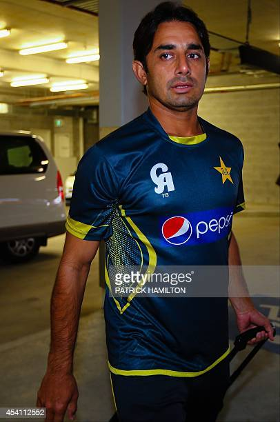 Pakistan offspinner Saeed Ajmal arrives at the Australian National Cricket Centre Brisbane on August 25 2014 Underscrutiny Pakistan offspinner Saeed...