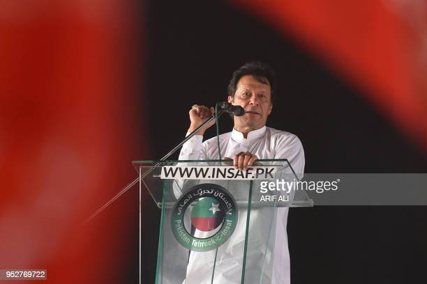Pakistan opposition leader and leader of the Pakistani political party Pakistan TehreekeInsaf Imran Khan delivers a speech during a political rally...