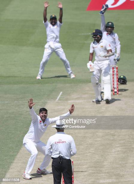 Pakistan pacebowler Harris Sohail unsuccessfully appeals against Sri Lankan batsman Niroshan Dickwella during the second day of the first Test...