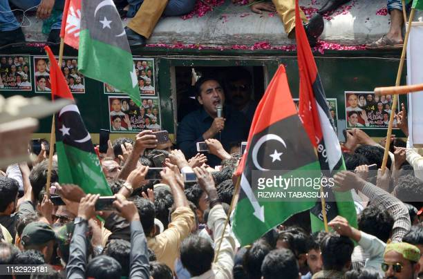 Pakistan Peoples Party Chairman Bilawal Bhutto Zardari speaks to activists during the start of antigovernment train march in Karachi on March 26 2019...