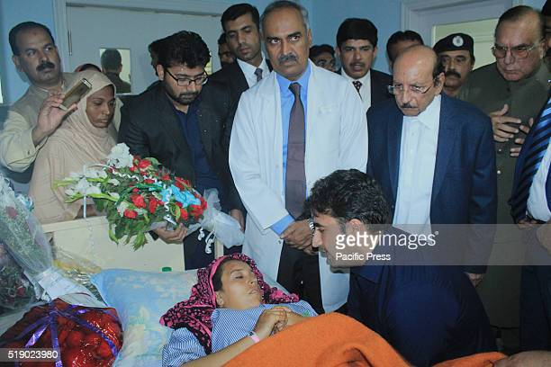 Pakistan Peoples Party Chairman Bilawal Bhutto Zardari visits and inquires about the health of injured victims of suicidal bomb blast at...