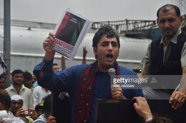 Pakistan Peoples Party chairperson Bilawal Bhutto Zardari addresses supporters at the start of his election campaign for interior Sindh an area of...