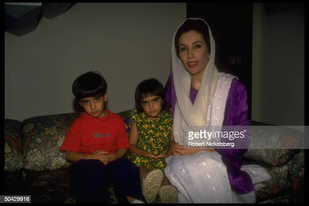 Pakistan People's Party chmn Benazir Bhutto at home w her daughter Benazir son Bilawal Zardari