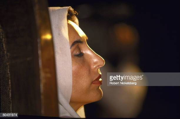 Pakistan People's Party's Benazir Bhutto attending election campaign rally hoping to win PM seat as PPP ldr