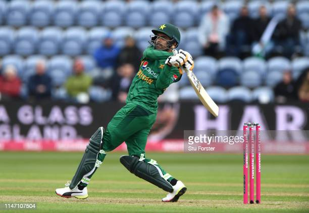 Pakistan player Babar Azam hits out during the Twenty20 International match between England and Pakistan at Sophia Gardens on May 05 2019 in Cardiff...